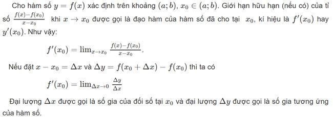 định nghĩa của đạo hàm SGK toán 11