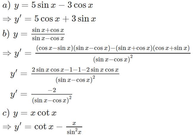 Đáp án bài 3 trang 169 SGK toán đại số và giải tích lớp 11 câu a b c