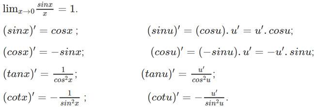 Lý thuyết đạo hàm của hàm số lượng giác SGK toán 11