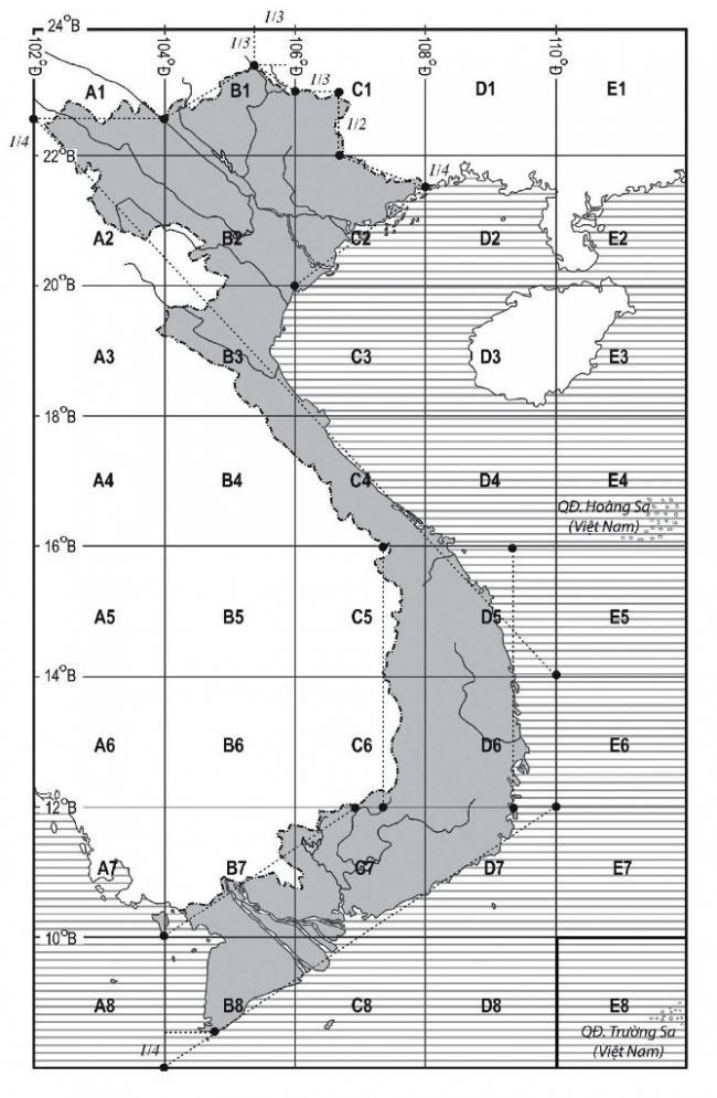 Hướng dẫn vẽ lược đồ Việt Nam bằng lưới ô vuông