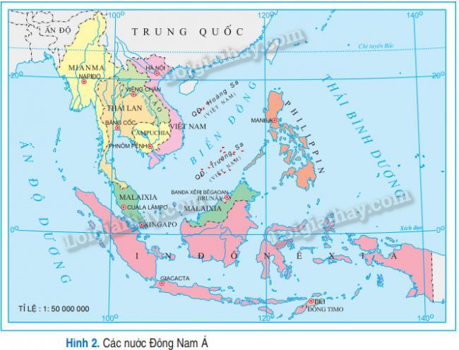 Bản đồ các nước Đông Nam Á - SGK Địa lí 12