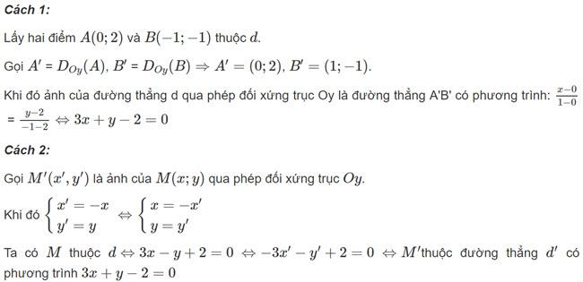 Đáp án bài 2 trang 11 SGK toán hình học lớp 11