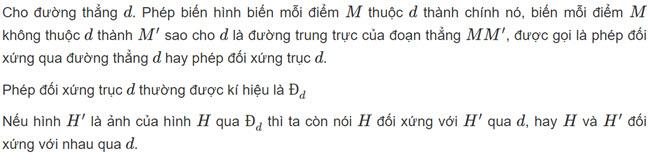 Định nghĩa Lý thuyết phép đối xứng trục SGK toán hình học lớp 11