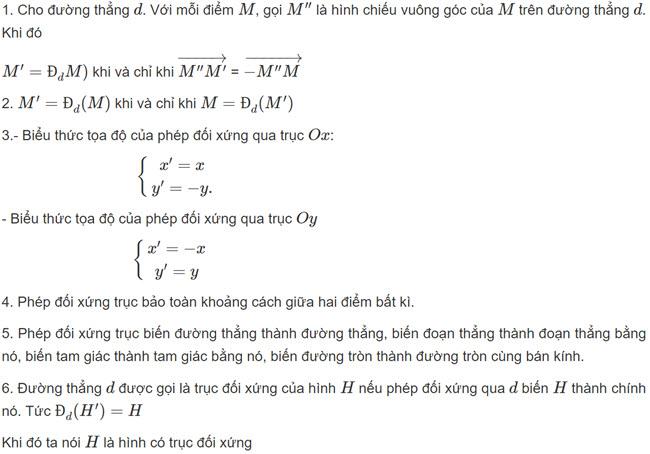 tính chất Lý thuyết phép đối xứng trục SGK toán hình học lớp 11