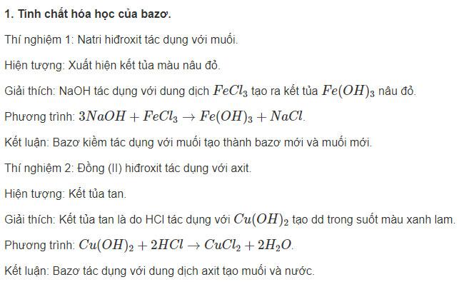 Báo cáo thực hành Tính chất hóa học của bazo và muối