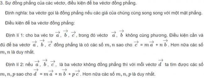 Định lý véc tơ trong không gian hình học 11