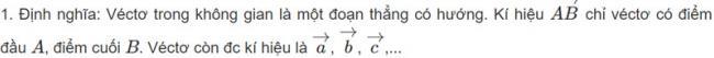 Định nghĩa véc tơ trong không gian hình học 11