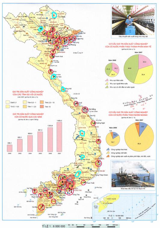 Bản đồ phân bố các tổ chức lãnh thổ CN ở Việt Nam