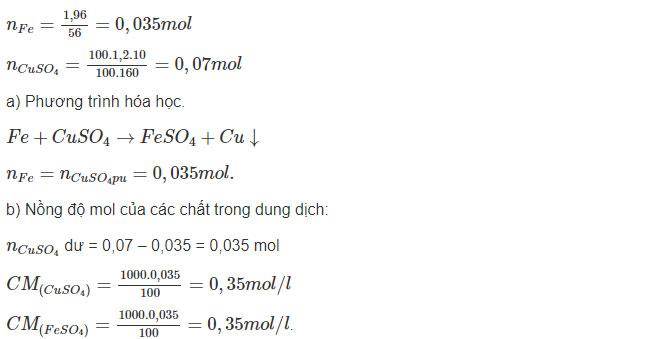 Đáp án bài 10 trang 72 sgk hóa lớp 9