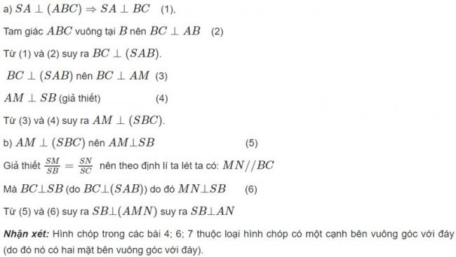Đáp án bài 7 trang 105 SGK toán hình học lớp 11