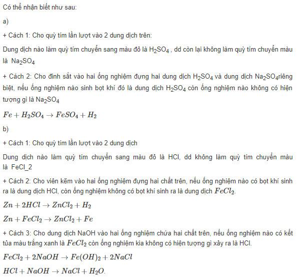 Đáp án bài 1 trang 167 sgk hóa lớp 9