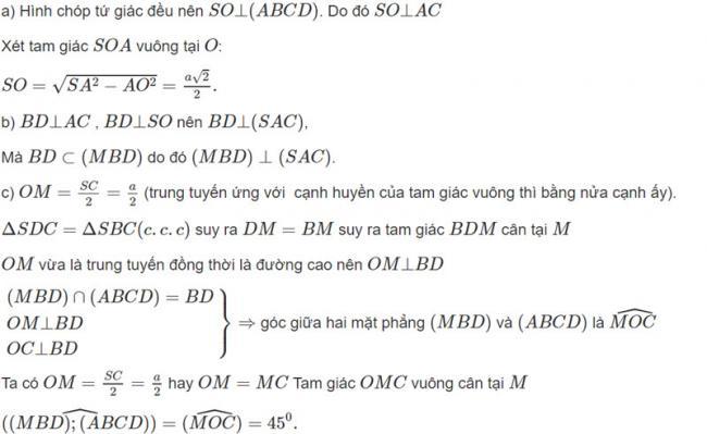 Đáp án bài 10 trang 114 SGK toán hình học lớp 11