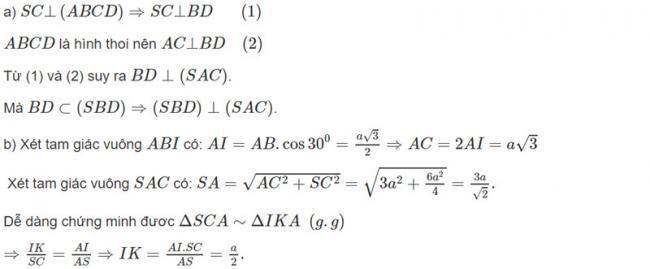 Đáp án bài 11 trang 114 SGK toán hình học lớp 11 câu a và b