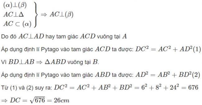 Đáp án bài 2 trang 113 SGK toán hình học lớp 11