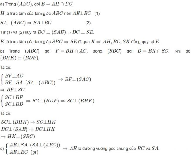 Đáp án bài 2 trang 119 SGK toán hình học lớp 11