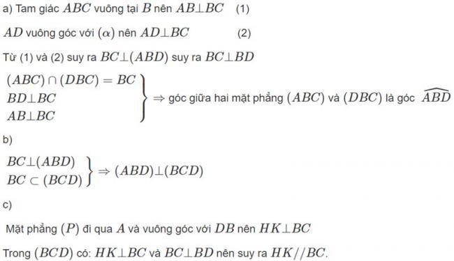 Đáp án bài 3 trang 113 SGK toán hình học lớp 11