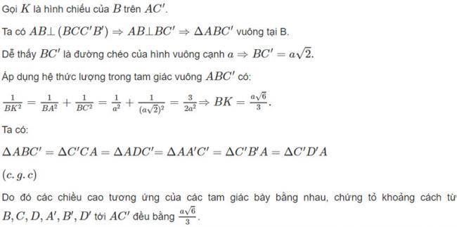 Đáp án bài 3 trang 119 SGK toán hình học lớp 11