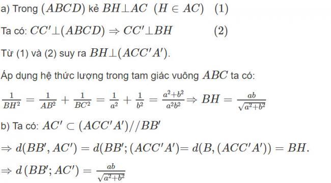 Đáp án bài 4 trang 119 SGK toán hình học lớp 11