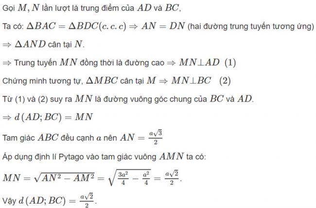 Đáp án bài 8 trang 120 SGK toán hình học lớp 11