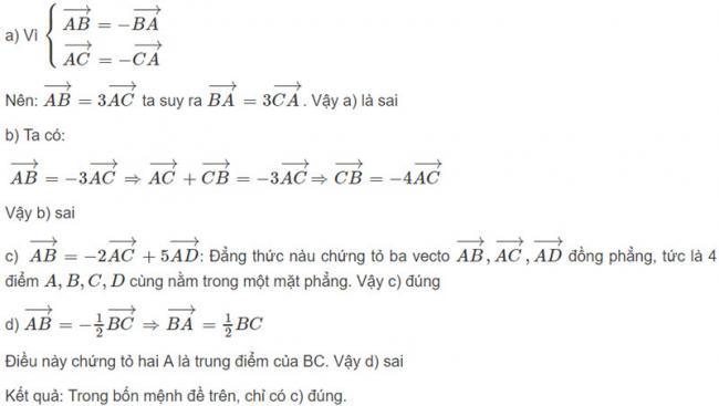 Đáp án bài 1 trang 122 SGK toán hình học lớp 11