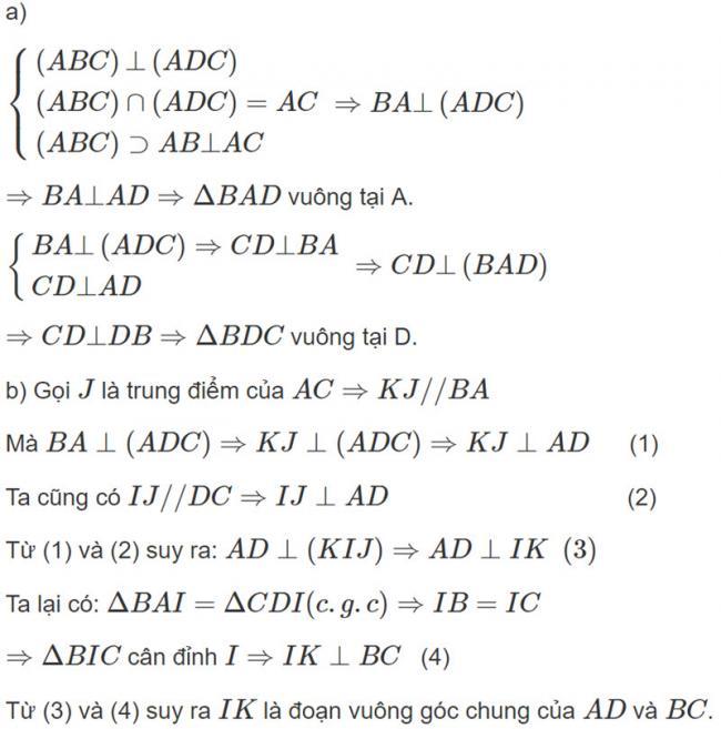 Đáp án bài 5 trang 121 SGK toán hình học lớp 11