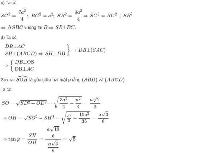 Đáp án bài 7 trang 122 SGK toán hình học lớp 11 câu c d