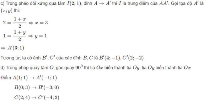 Đáp án bài 1 trang 125 SGK toán hình học lớp 11 câu c d