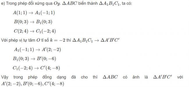 Đáp án bài 1 trang 125 SGK toán hình học lớp 11 câu e