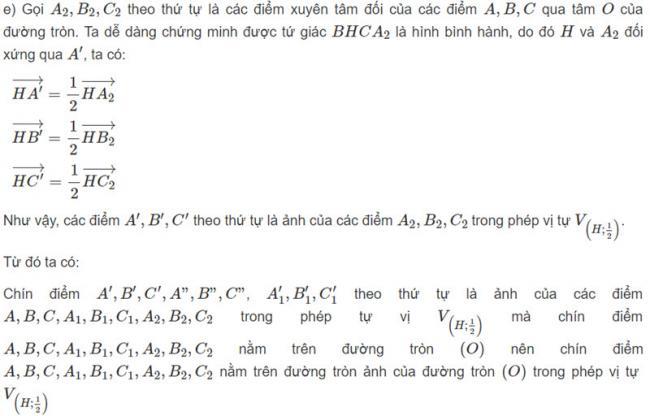 Đáp án bài 2 trang 125 SGK toán hình học lớp 11 câu e