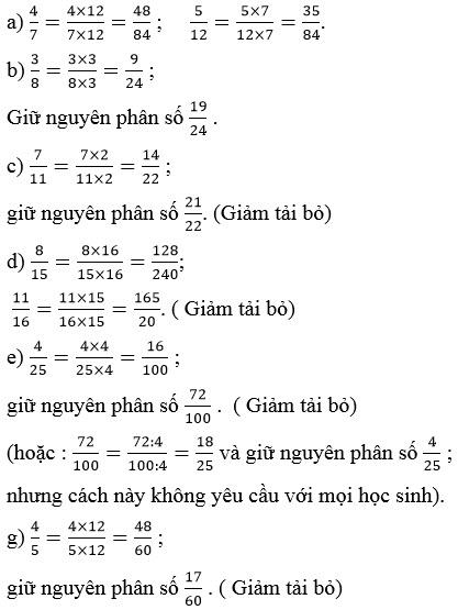 Giải bài 2 trang 116 SGK Toán 4 tiết Quy đồng mẫu số các phân số (tiếp theo)