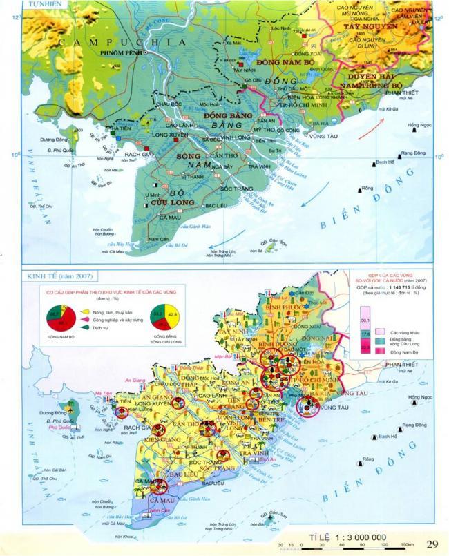 bản đồ Hành chính Việt Nam vị trí địa lí và phạm vi lãnh thổ của vùng Đông Nam Bộ