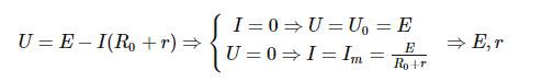 Ta xác định U₀ và Im là các điểm mà tại đó đường kéo dài