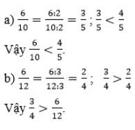 Giải bài 2 trang 122 SGK Toán 4 tiết So sánh hai phân số khác mẫu số 1