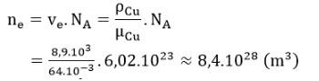 Mật độ êlectron tự do trong đồng bằng mật độ nguyên tử đồng
