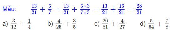Giải bài 2 trang 127 SGK Toán 4 tiết Phép cộng phân số (tiếp theo)