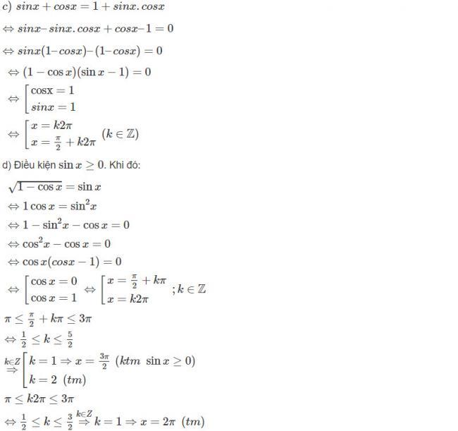 Đáp án bài 3 trang 179 SGK toán đại số và giải tích lớp 11 câu c d