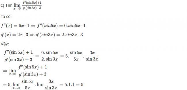 Đáp án bài 20 trang 181 SGK toán đại số và giải tích lớp 11 câu c