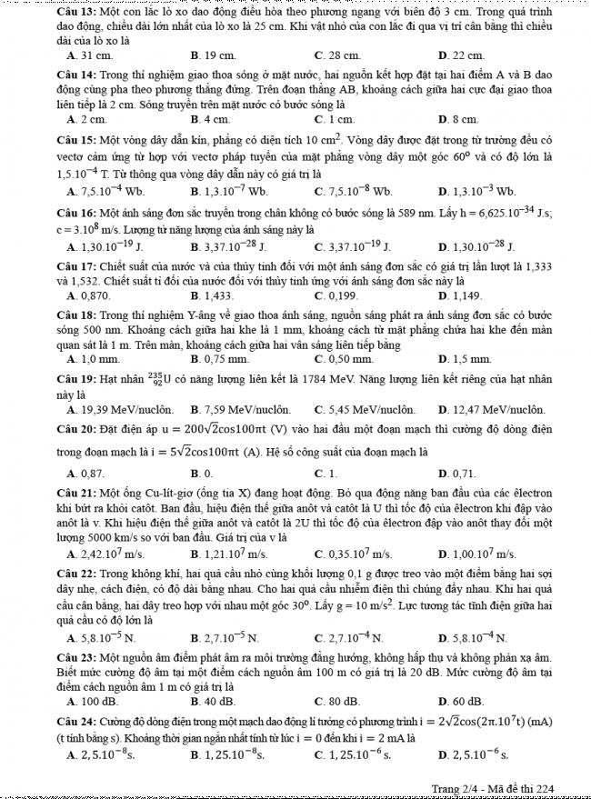 Đáp án đề thi Lý mã đề 224 - THPT Quốc Gia 2018 2