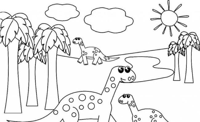Tranh tô màu khủng long ăn cỏ