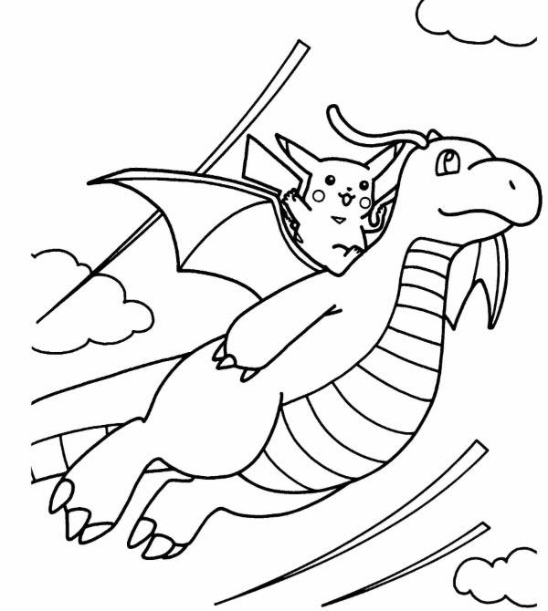 tranh tô màu pokemon dragonitevà chú pikachu