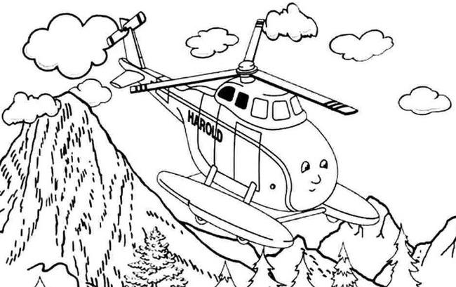 Tranh tô màu khung cảnh khi máy bay đang bay