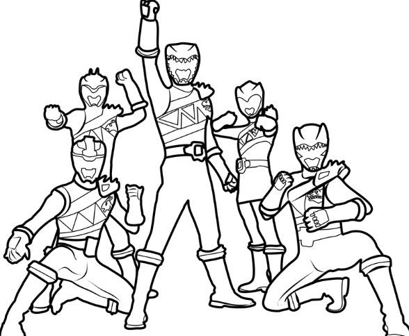 tranh tô màu 5 anh em siêu nhân