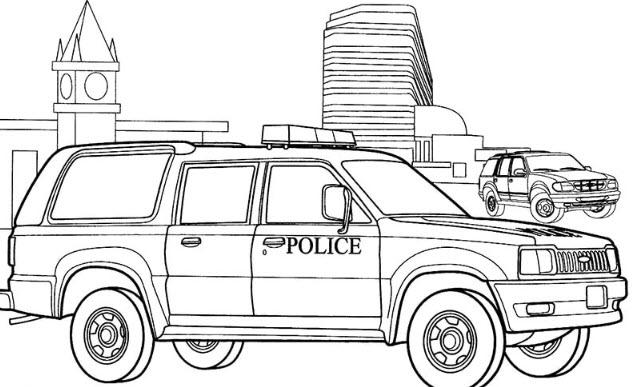Tranh tô màu xe cảnh sát