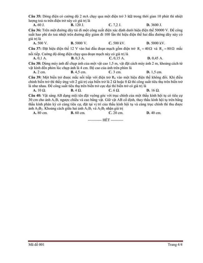 Đề tham khảo thi vào 10 môn Vật lí Bắc Giang  năm 2019 trang 4
