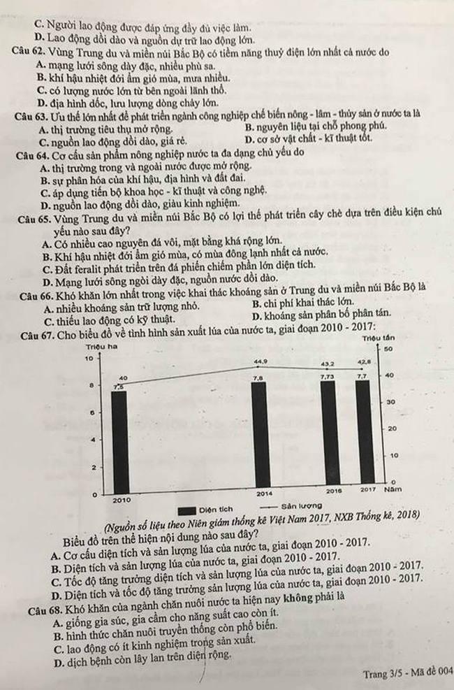 Đề thi khảo sát môn Địa Lí lớp 12 THPT Hà Nội trang 3