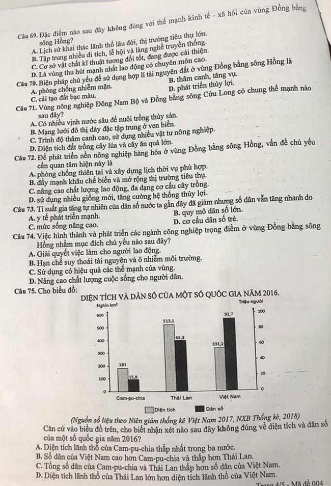 Đề thi khảo sát môn Địa Lí lớp 12 THPT Hà Nội trang 4