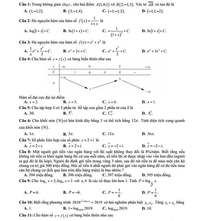 Đề thi thử toán 2019 các trường THPT chuyên khu vực duyên hải bắc bộ trang 1