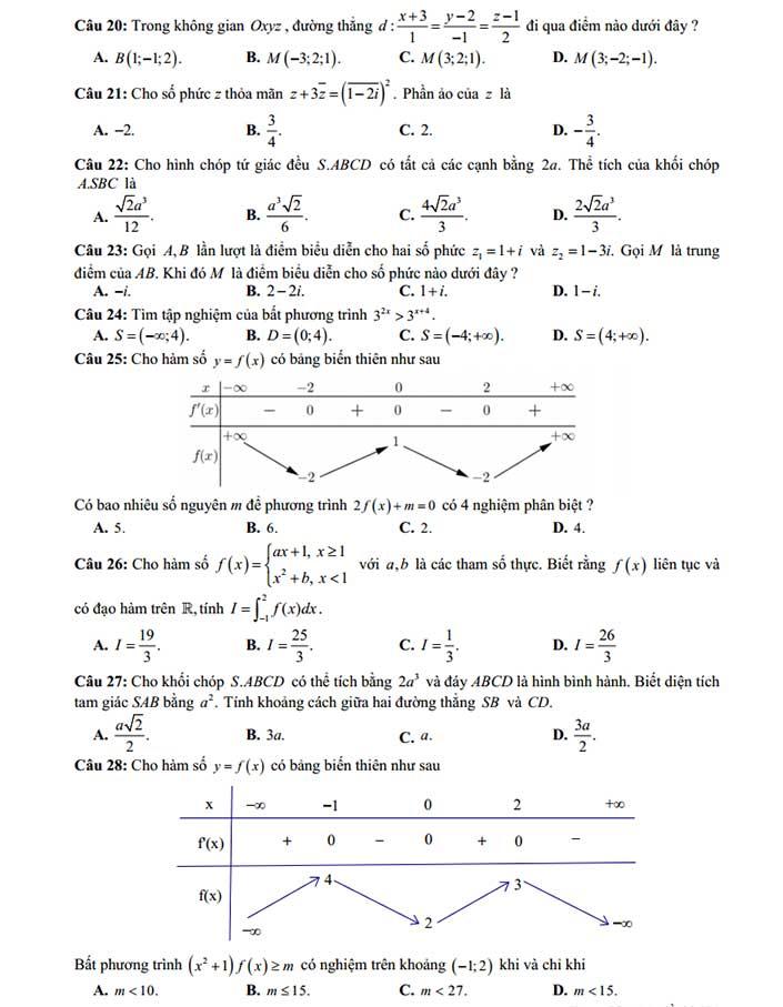 Đề thi thử toán 2019 các trường THPT chuyên khu vực duyên hải bắc bộ trang 3