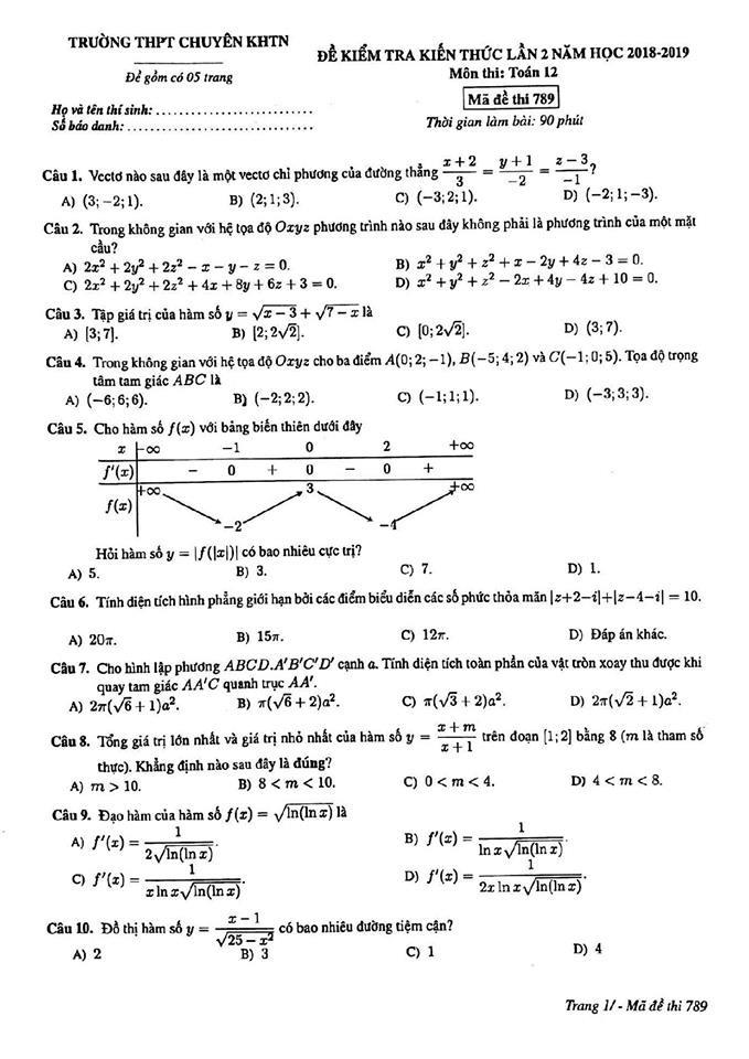 Đề thi thử môn Toán mã đề 789 THPT chuyên KHTN Hà Nội 1
