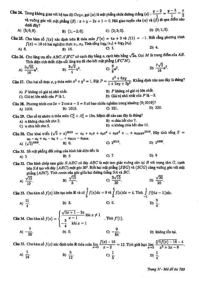 Đề thi thử môn Toán mã đề 789 THPT chuyên KHTN Hà Nội 3